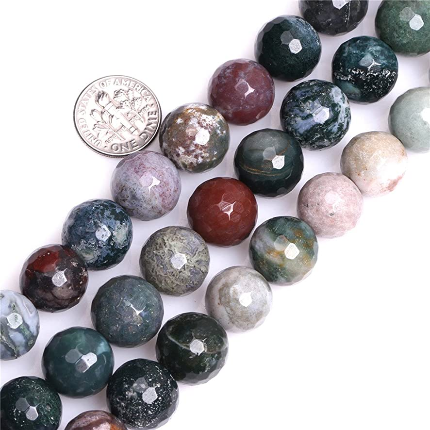 JOE FOREMAN 14mm Indian Agate Semi Precious Gemstone Round Faceted Loose Beads for Jewelry Making DIY Handmade Craft Supplies 15