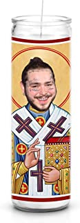 Post Malone Celebrity Prayer Candle - Funny Saint Candle - 8 inch Glass Prayer Votive - 100% Handmade in USA - Funny Celebrity Novelty Gift (Post Malone)