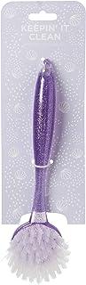 Tri-Coastal Design - Köksdiskborste med långt färgstarkt ergonomiskt handtag och mjuk nylonborst (lila glitter)