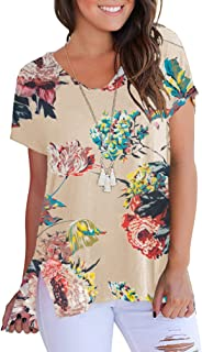 Womens High Low Summer Casual Tunic Tops Short Sleeve V Neck T Shirts