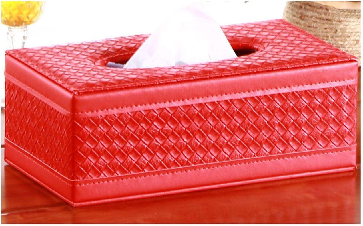 S Forever Weaving Pattern Chic Kleenex Box Holders PU Leather Rectangular Tissue Box Cover White, Small