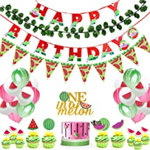 Watermelon Birthday Party Supplies, One in a Melon Cake Topper Watermelon Cupcake Toppers Melon Balloons Simulated watermelon leaf and Watermelon triangle flag Happy Birthday Banner for Summer Fruit Themed 1st Birthday Party.Watermelon Party Supplies