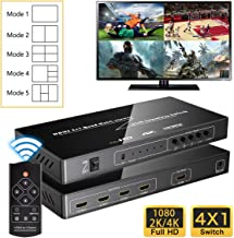 4K HDMI Multi-Viewer, 4 in 1 Out HDMI Screen Switch with 5 Modes, Support 4K@30Hz/2K@60Hz Seamless Switch for Game Studio, Exhibition Hall, Video Meeting, Surveillance, Display Mall etc.
