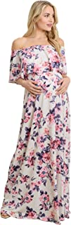 HELLO MIZ Women`s Ruffle Off The Shoulder Maxi Maternity Dress - Made in USA