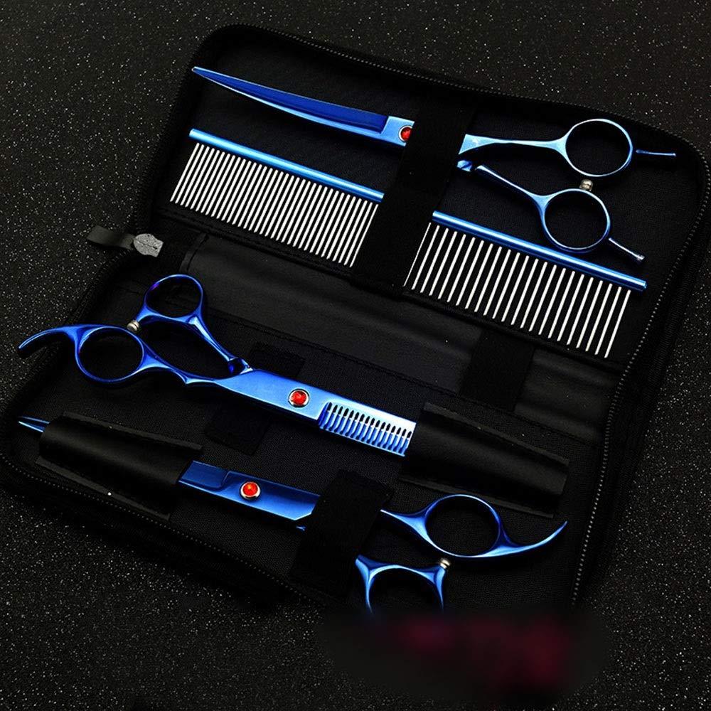 説明する展望台ゲインセイ7.0インチブルーの電気メッキ3個セット、ペットグルーミングはさみストレートカット曲線鋏セット送信青い行くし モデリングツール (色 : 青)