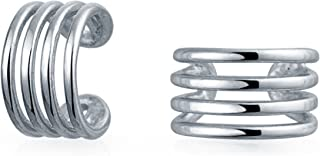 Minimalist Geometric 4 Split Band Cartilage Ear Cuffs Clip Wrap Helix Earrings Non Pierced Ear 925 Sterling Silver