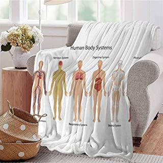 KFUTMD Summer Comforter Blanket Human Body with Central Nervous Network Skeleton and Neurons Image Muscle System Multi Bedroom Dorm Sofa Baby Cot Beach W60 xL80