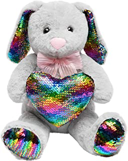 HollyHOME Sequins Bunny Easter Stuffed Animal Long Eard Plush Rabbit Holding Reversible Sequins Heart Pillow 19 Inches Gray