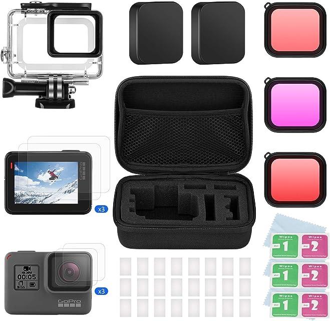 BOYISEN Kit de Accesorios para GoPro Hero 7(Negro)/6/5/Hero(2018) con Estuche Impermeable 3 Filtros Vidrio Templado para Pantalla y Lente Tapas de Lentes Inserciones Antiniebla Estuche