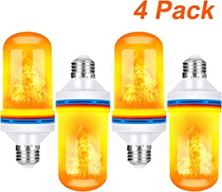 TOMTOO LED Flame Effect Light Bulbs 4 Modes with Upside Down Effect - E26 Base LED Flame Light Bulbs Decorative Light for Thanksgiving/Christmas/Festival/Bars/Hotal/Indoor&Outdoor Decorations (4pack)
