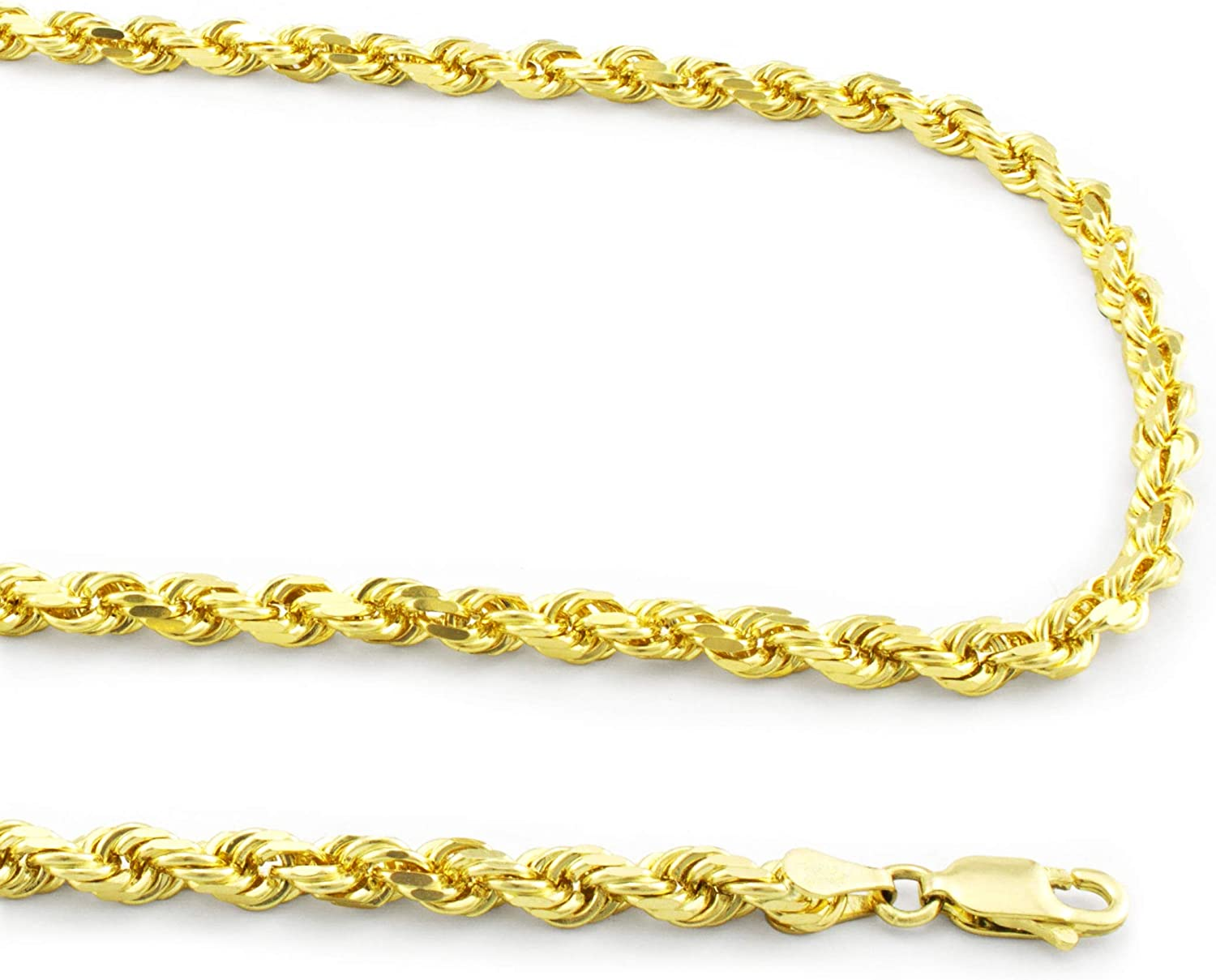 Nuragold 14k Yellow Gold 4mm Rope Chain Diamond Cut Pendant Necklace, Mens Womens Lobster Lock 20