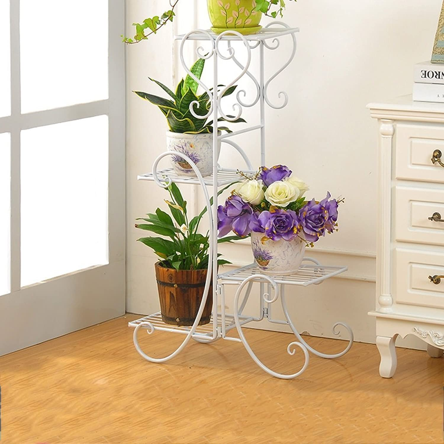 NYDZDM Flower Stand Wrought Iron Plant Shelf Storage Shelf Balcony Flower Pot Rack (color   White, Size   50  26  80cm)