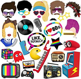 80s Photo Booth Props, 38pcs BizoeRade 80s Photo Booth, 80s Party Supplies, Suitable for 1980s Party, 80s Birthday Party, Rock Party