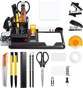 Deli 15 Pcs Office Supplies Kit with Desk Organizer, Desk Accessories Set with Staple, Sharpener, Scissors, Staple Remover, Binder Clips