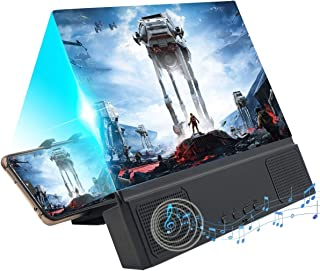 12'' 3D Screen Magnifier with Bluetooth Speaker, HD Protable Movies Amplifier with Foldable Holder Stand, Support iPhone Xs Max/X / 8/8 Plus and Android All Smartphones