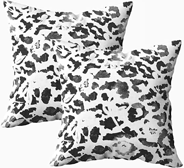Musesh 18x18 Pillow Cases Pack Of 2 Drawn Watercolor Abstract Leopard Print And Flowers Pattern Isolated Background For Sofa Home Decorative Pillowcase Throw Pillow Covers