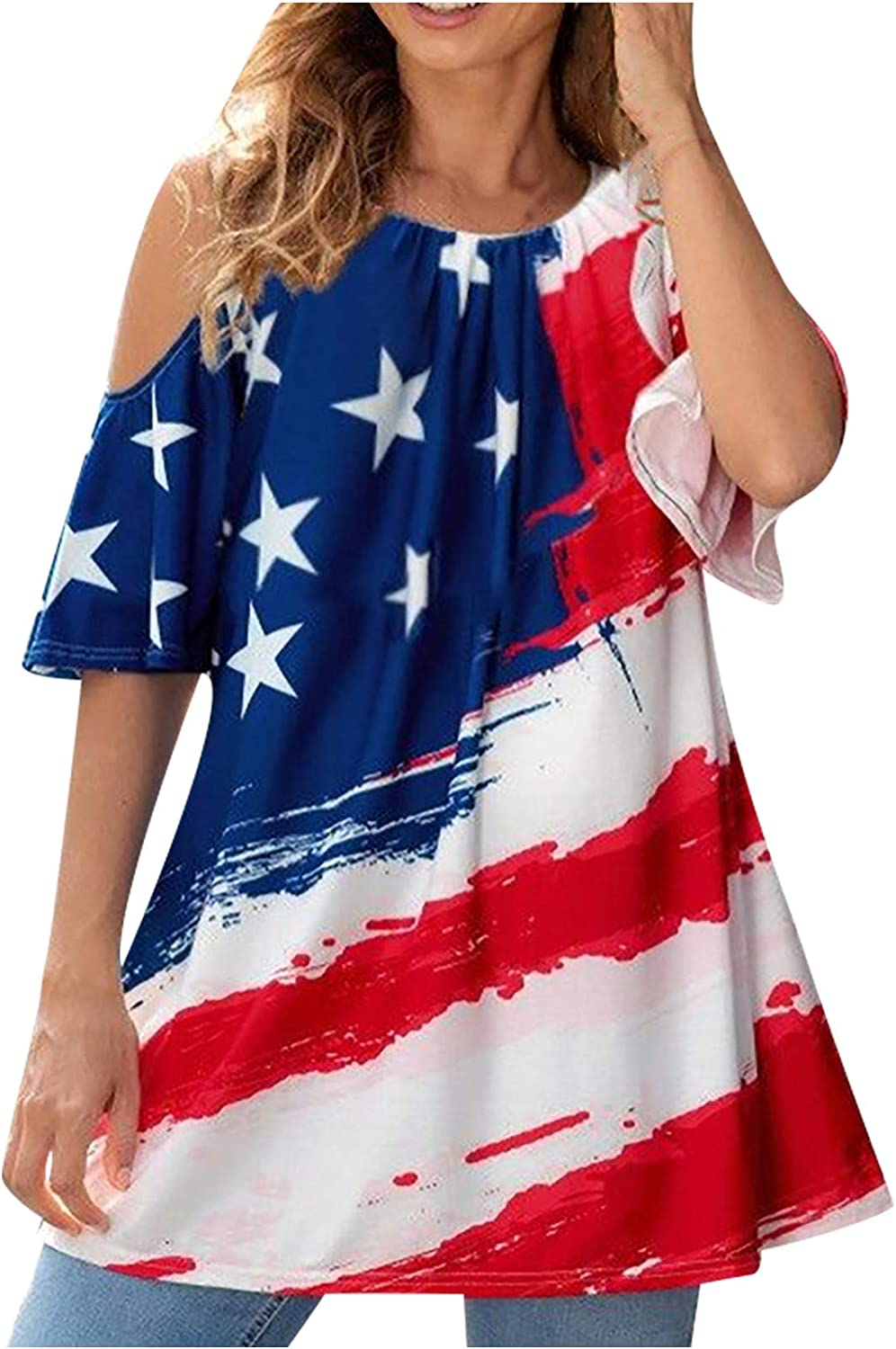 SHOPESSA Off Free shipping on posting reviews The Shoulder Tops 4Th of July Loose Fitting Women's Sales for sale