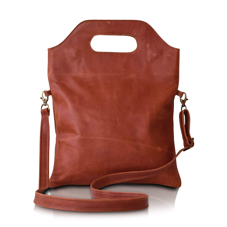 handmade leather crossbody Sales foldable Super sale over the shoulder bag brown