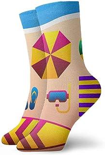 tyui7, Vacaciones de verano Accesorios de vacaciones en Sandy Beach Calcetines de compresión antideslizantes Cosy Athletic 30cm Crew Calcetines para hombres, mujeres, niños