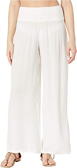 Crinkle Rayon Cover-Up Smocked Waist Pant