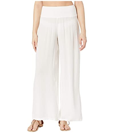 LAUREN Ralph Lauren Crinkle Rayon Cover-Up Smocked Waist Pant (White) Women