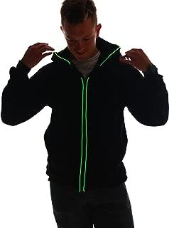 Battery-Powered Light Up Hoodie, Unisex Luminescent Zip Jacket for Men and Women