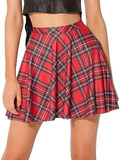 ASHER FASHION Womens Summer Plus Size Stretchy Plaid Print Pleated Mini Skirts