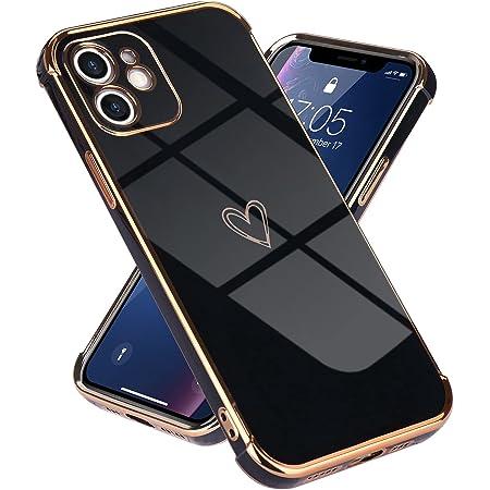 Lafunda kompatibel mit iPhone 11(6,1 Zoll) Handyhülle Mädchen Liebesherz Silikonhülle weich TPU Hülle Ultra dünn Stoßfeste Schutzhülle Bumper Silikon case für iPhone 11 Schwarz