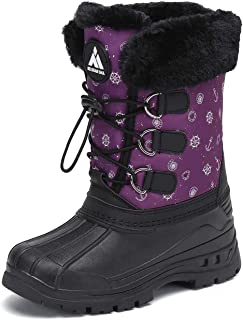 Mishansha Girls Boys Winter Snow Boots Warm Waterproof Anti-Slip Anti-Collision Hight-Cut for Outdoor Skiing