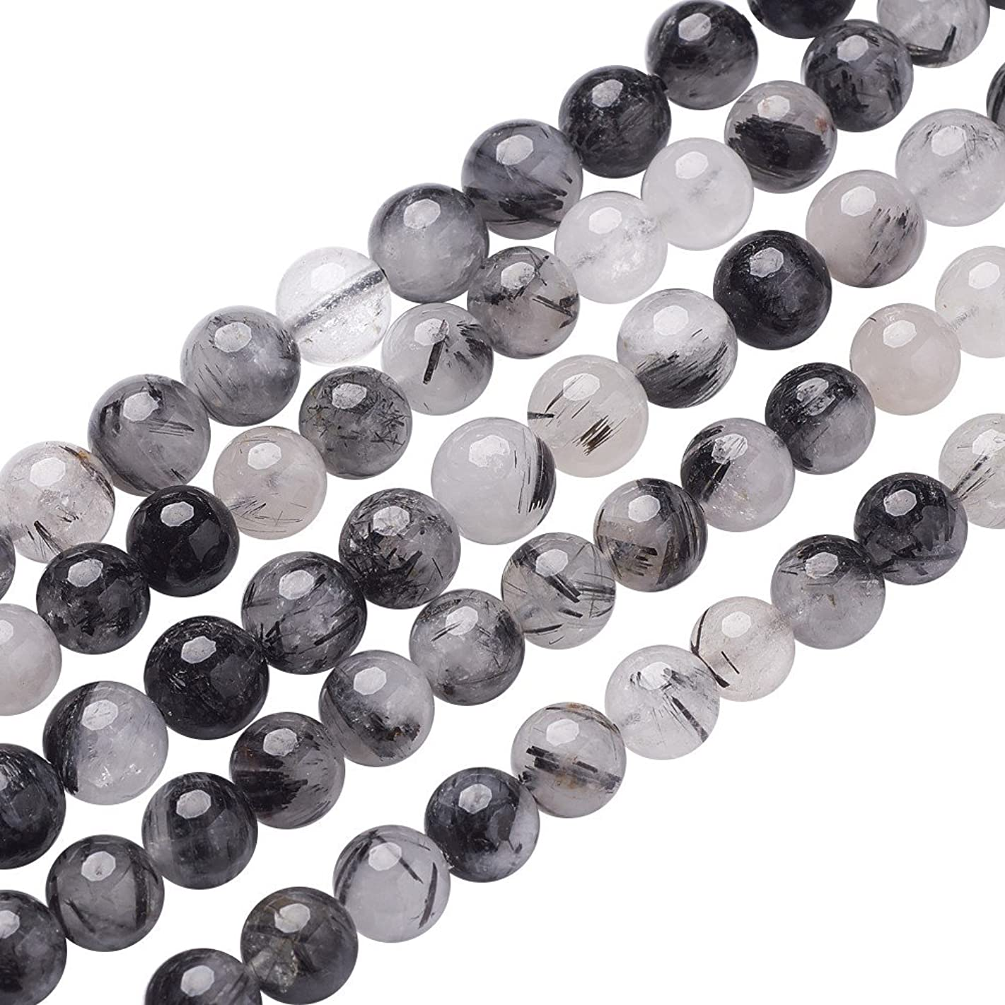 NBEADS 5 Strands 8mm Black/LightGrey Natural Black Rutilated Quartz Gemstone Beads Round Loose Beads for Bracelet Necklace Jewelry Making, 1 Strand 24pcs