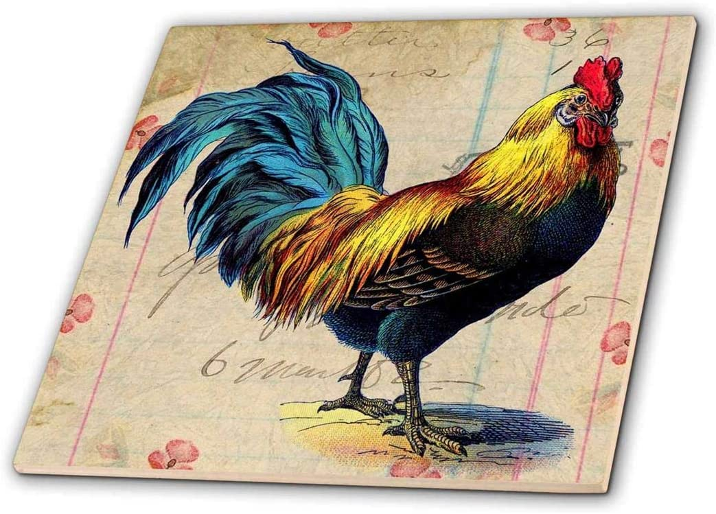 3dRose ct_108229_2 Vintage Max 63% OFF Special price for a limited time Rooster Digital and Art Angel spot by