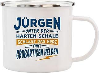 History & Heraldry Echter Kerl Emaille Becher, Jürg