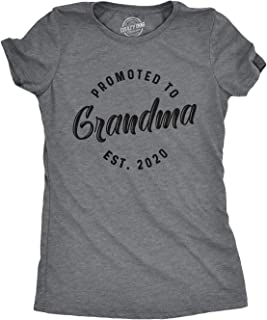 Womens Promoted to Grandma Est 2020 T Shirt Best Gift Funny Novelty Graphic Tee