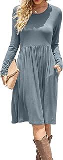Women Casual Long Sleeve Dresses Empire Waist Loose Dress...