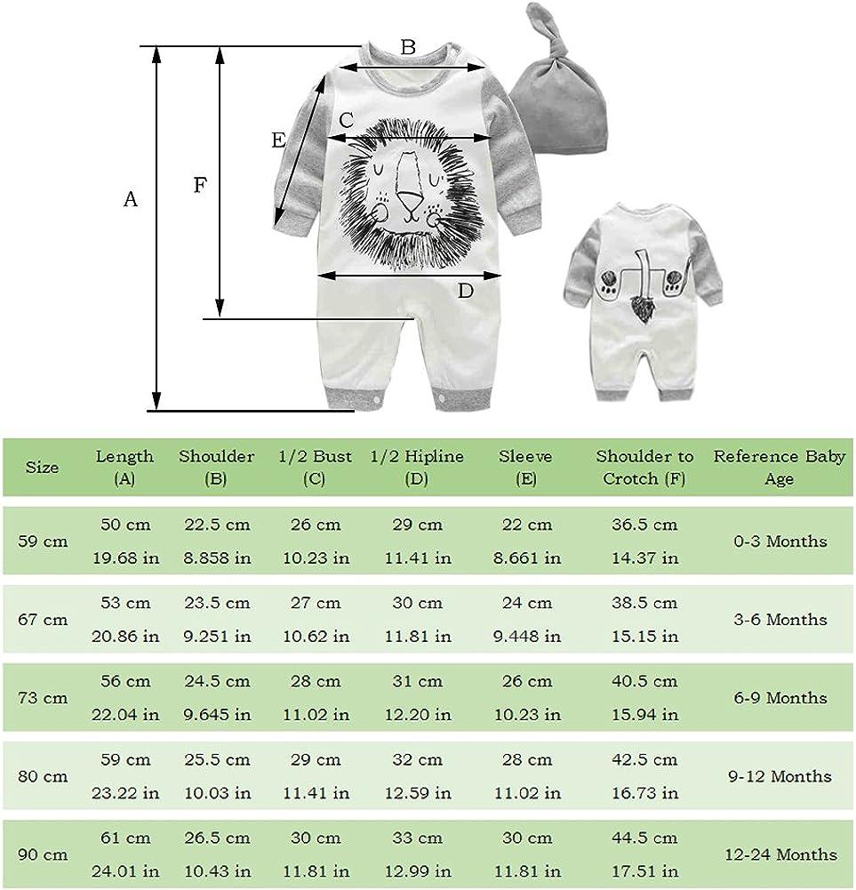 Fairy Baby Niedliches Baby-Outfit f/ür Jungen lang/ärmelig Strampler mit Hut 0-24 Monate