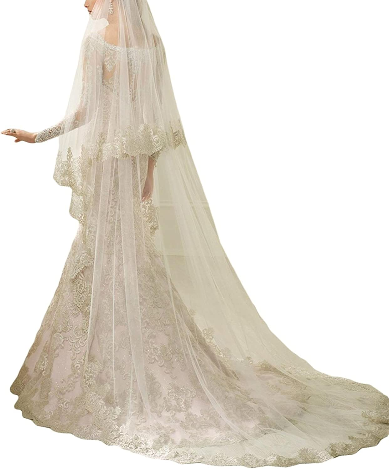 EllieHouse Women's 2 Tier Lace Wedding Bridal Veil With Comb S19