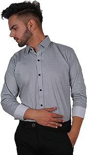 The Modern Darzi Men's Slim Fit Formal Printed Full Sleeves Shirt (S-XXL) (White)