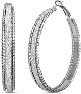 Steve Madden 50mm Large Glitter Hoop Earrings for Women