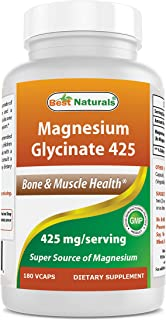 Best Naturals Magnesium Glycinate 425 mg 180 Veggie Capsules - High Absorption Chelated, Non-GMO, Gluten Free Magnesium for Muscle Relax, Helps with Stress Relief, Better Sleep & Migraines Relief