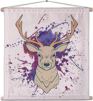 ArtzFolio Deer with Watercolor D2 Canvas Painting Tapestry Scroll Art Hanging 30 X 30Inch