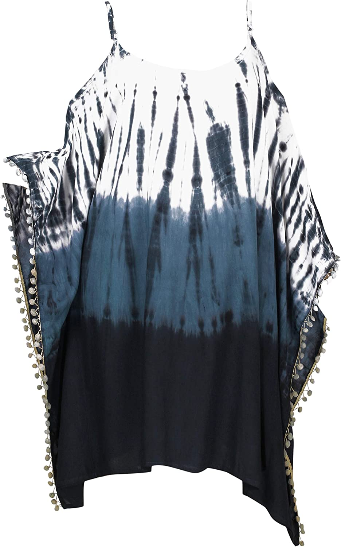 LA LEELA Women's Spiral Hand Tie Dyed Cold Off Shoulder with Pom Poms Cover Up