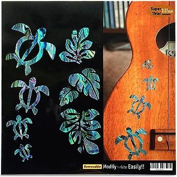 Jockomo Honu/ホヌ・ファミリー & ハワイアン Leaf(アバロン)ウクレレにピッタリ インレイステッカー