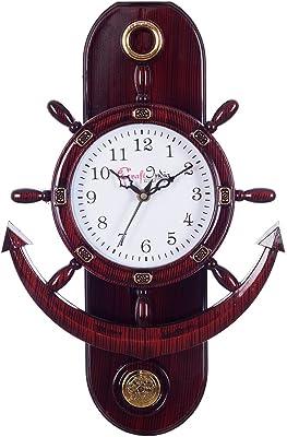 eCraftIndia Retro Anchor Pendulum Wall Clock (30 cm x 2.54 cm x 38 cm, Brown)