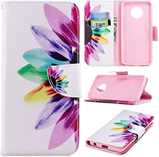 Moto G6 Case, iYCK Premium PU Leather Flip Folio Carrying Magnetic Closure Protective Shell Wallet Case Cover for Moto G6 2018/Moto G (6th Generation) with Kickstand Stand - Colorful Flower