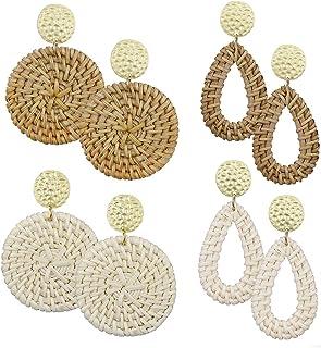 AIDSOTOU Rattan Earrings for Women Lightweight Geometric Statement Earrings Handmade Straw Wicker Braid Teardrop Hoop Drop Dangle Earrings 4 Pairs