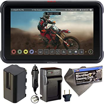 "Atomos Ninja V 5"" Touchscreen Recording Monitor 10bit HDR with NP-F750 Battery, AC/DC Charger, and Cleaning Cloth - Bundle"