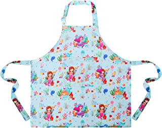 Sylfairy 1 Pack Mermaid Aprons for Kids Girls Blue Mermaid Apron with Pockets for Children Kichen Chef Aprons for Cooking Baking Painting and Party(Medium,6-8Years)