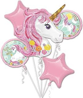 MumooBear 5 in 1 Partigos Unicorn Theme balloons 18 inch star Round Balloon Birthday Party Decor Kids Rainbow Balloons Uni...