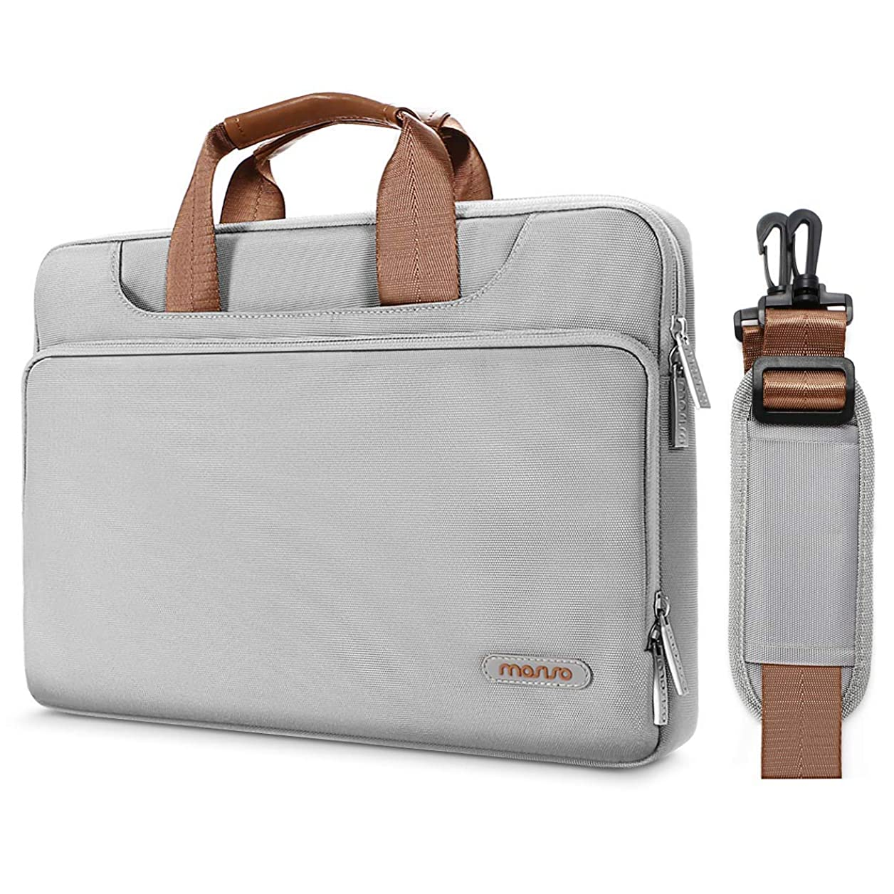 MOSISO 360° Protective Laptop Shoulder Bag Compatible 14-15.6 Inch 2018 2017 2016 MacBook Pro Touch Bar A1990 A1707, ThinkPad Chromebook, Polyester Briefcase Sleeve with Back Trolley Belt, Gray sbilgopckpbtgdaf