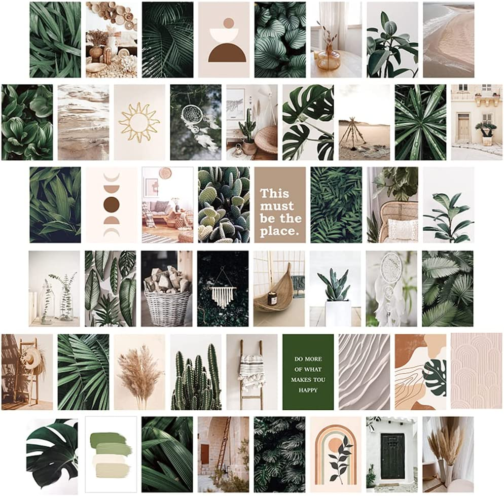Wall Collage Kit Aesthetic Pictures, 50PCS Double-sided Plant Photo Collage Kit for Wall Aesthetic Green Botanical Wall Art Boho Small Posters for Room Aesthetic Wall Decor for Teen Girls Dorm Bedroom